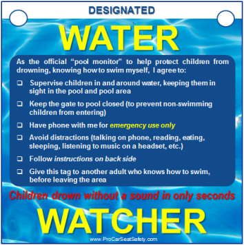 Car Rental With Car Seat >> Water Watcher Tag for Pool Owners - Pro Car Seat Safety